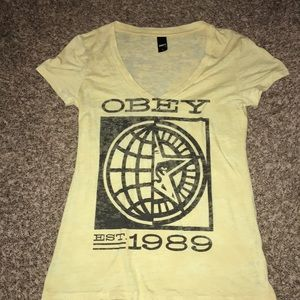 Obey short sleeve top yellow v-neck